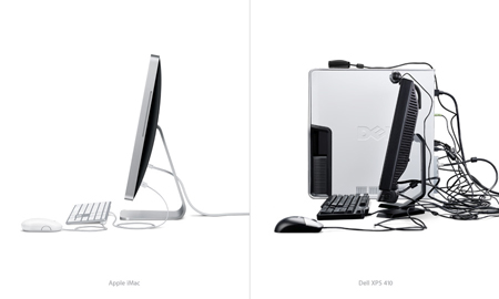 An Apple iMac and a typical desktop pc (a Dell)